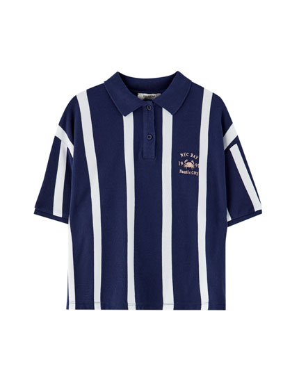 Striped piqué polo shirt