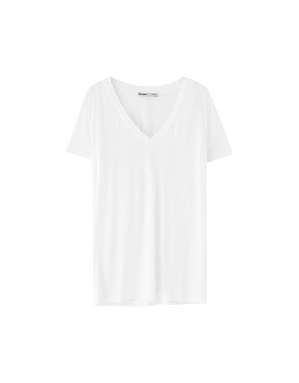 T-shirt col V viscose
