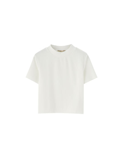 High neck ribbed T-shirt