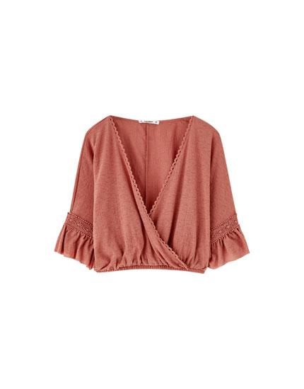 Boho top with crossover neckline