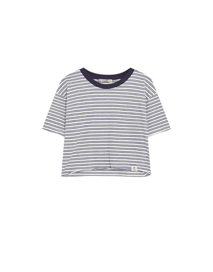 Striped T-shirt with trim
