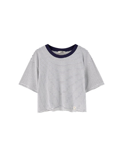 T-shirt with wide ribbed neckline