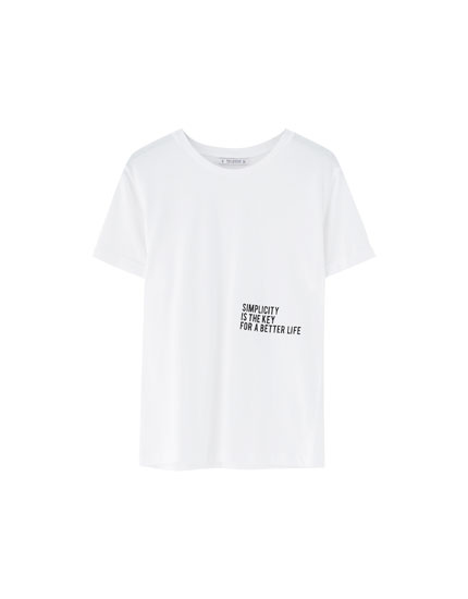 Slogan T-shirt with turn-up sleeves