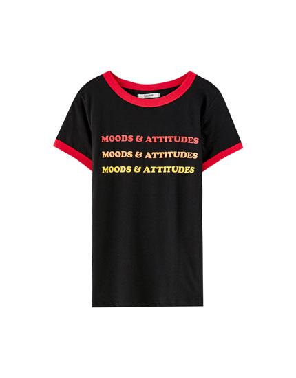 T-shirt i rib med kontrast