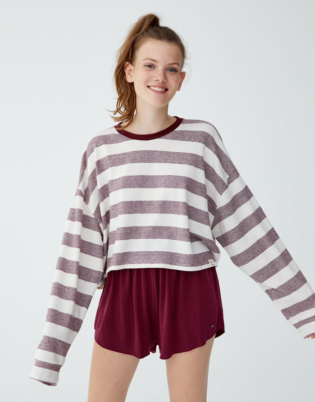 Cropped Striped T Shirt by Pull & Bear