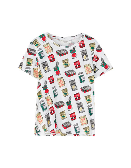 Tin and can print T-shirt