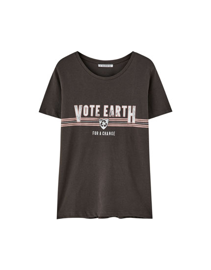 Eco slogan cotton T-shirt