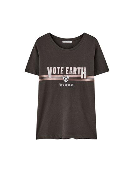 Shirt aus Baumwolle mit Öko-Slogan