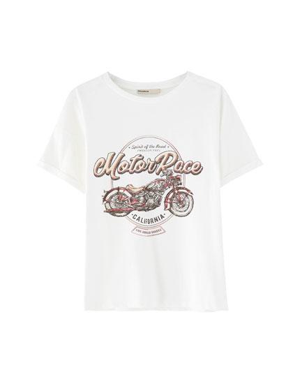 Biker print T-shirt