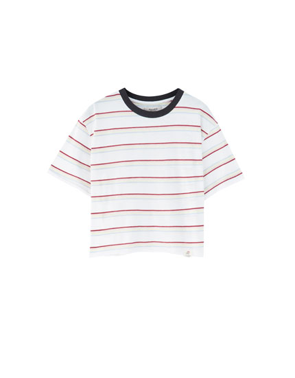 T-shirt with rainbow stripes