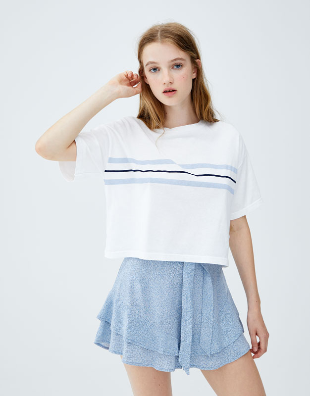 T Shirt With Blue Chest Stripes by Pull & Bear
