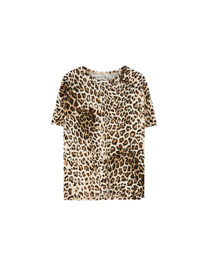 T-shirt med leopardprint