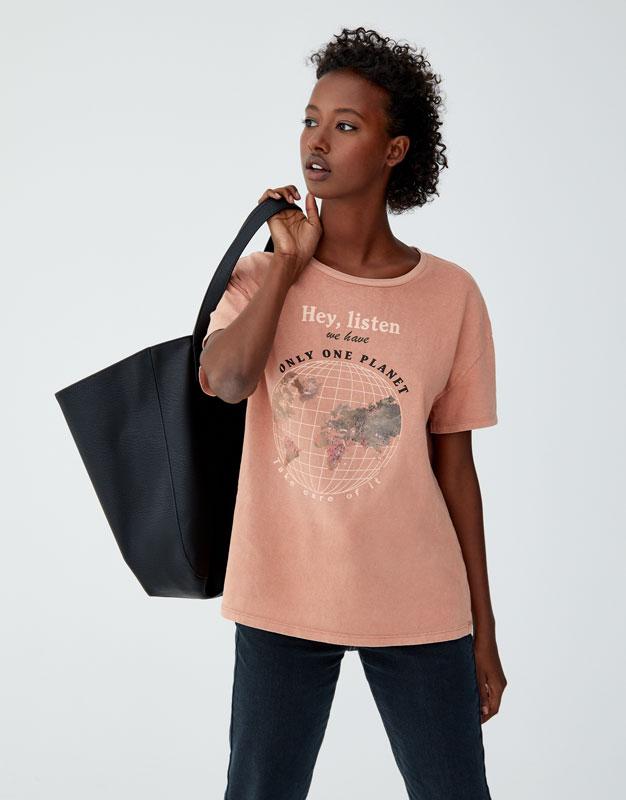Μπλούζα με γραφικό σχέδιο της γης by Pull & Bear
