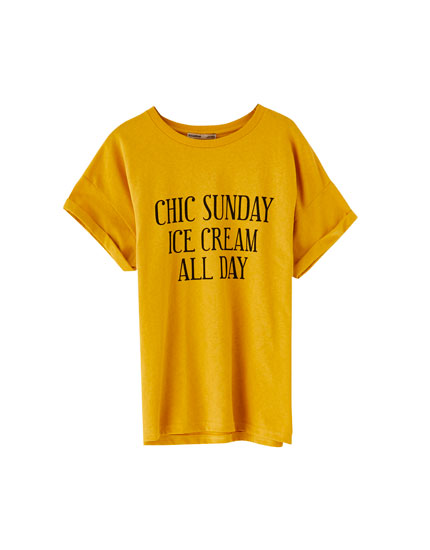 Mustard yellow T-shirt with chest slogan