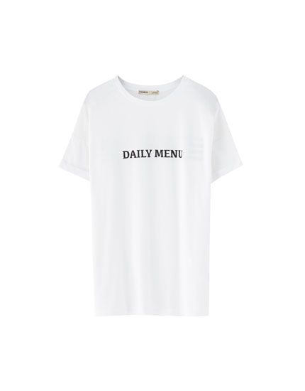 White T-shirt with chest slogan