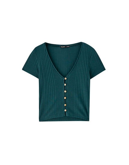 Ribbed T-shirt with buttons