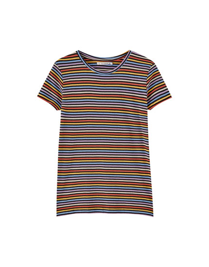 Short sleeve striped T-shirt