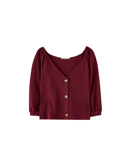 T-shirt with long puff sleeves