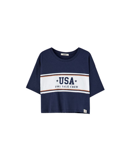 Varsity T-shirt with panelled sleeves