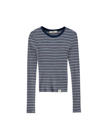 Ribbed multi-stripe T-shirt