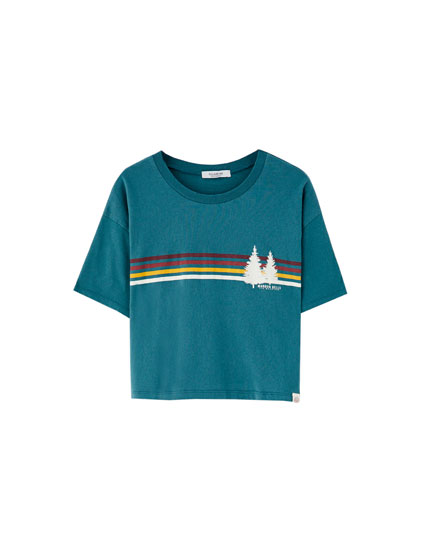 Pine trees and stripes T-shirt