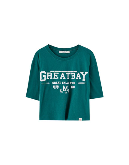 Cropped-Shirt mit Slogan Greatbay