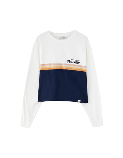 Panelled long sleeve T-shirt