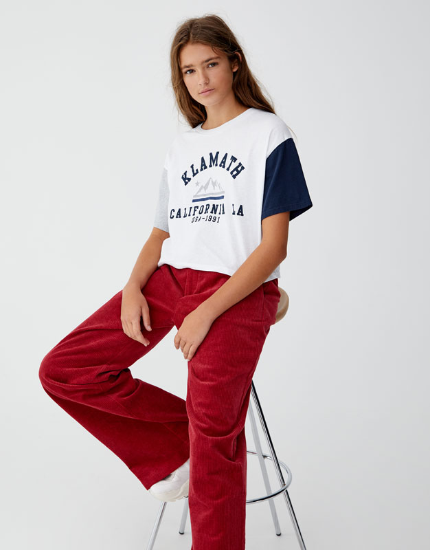 Contrast Sleeve T Shirt by Pull & Bear