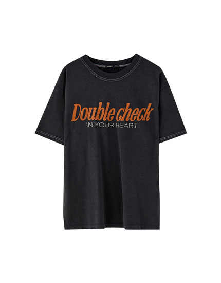 'Double Check' text T-shirt