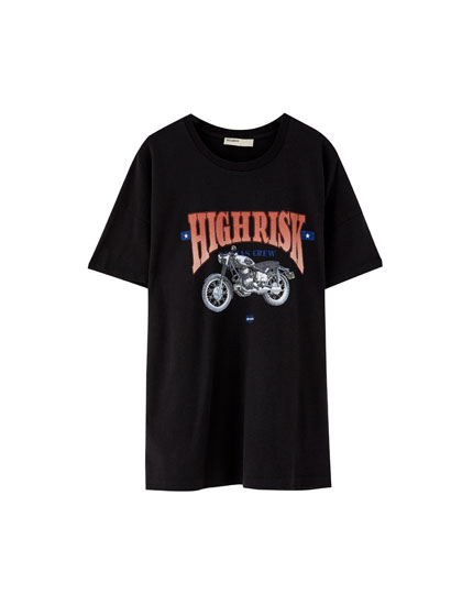Biker T-shirt with design