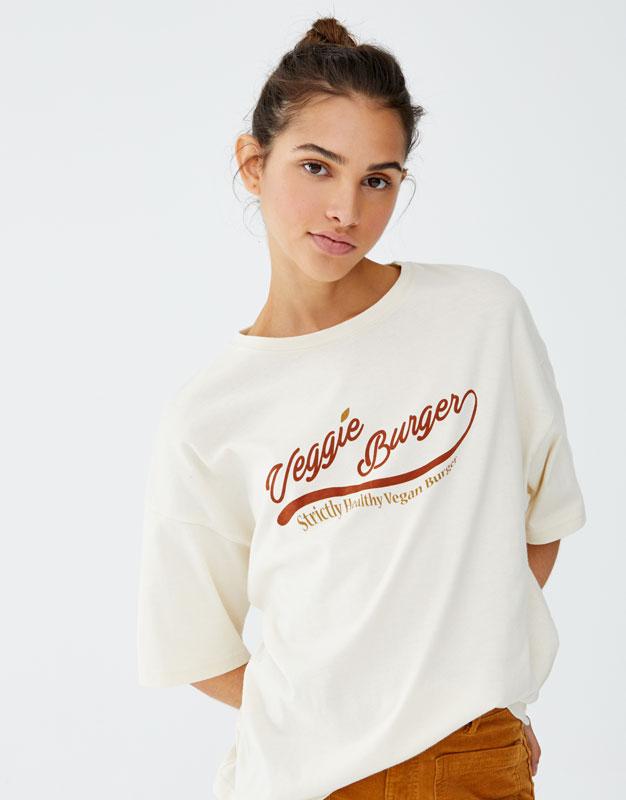 Bawełniana Koszulka Z Nadrukiem by Pull & Bear