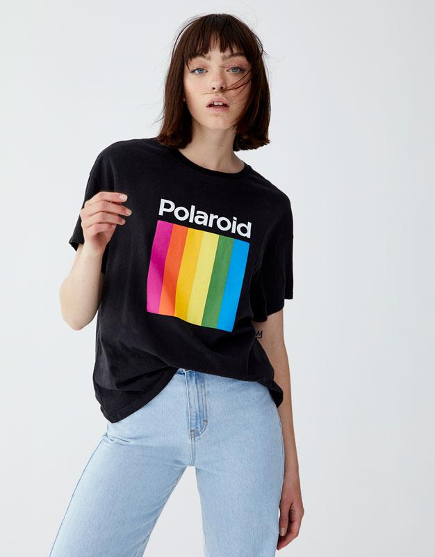 Koszulka Polaroid Z Kolorowym Logo by Pull & Bear