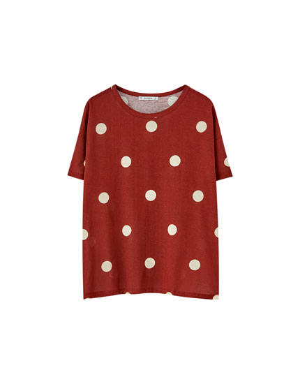 T-shirt brique pois