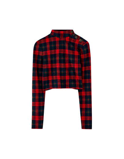 Long sleeve check T-shirt