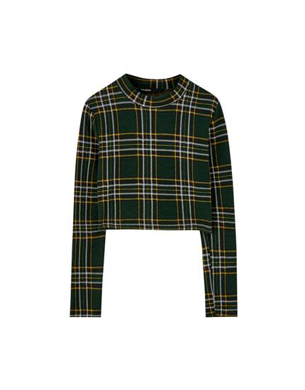 T-shirt carreaux manches longues