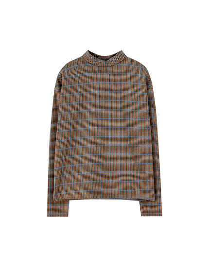 Tricou cu mânecă lungă în carouri