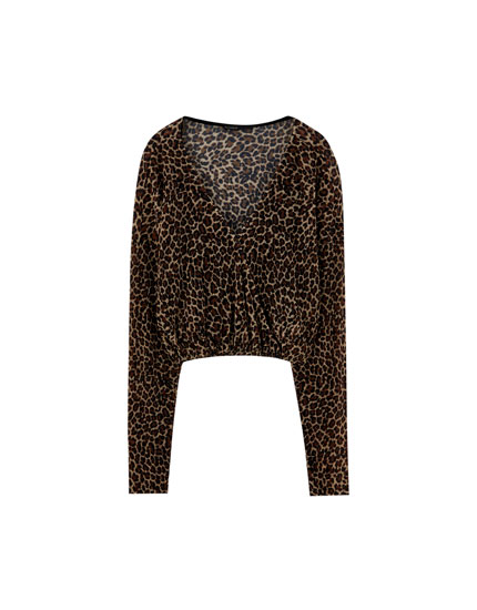 T-shirt cache-cœur imprimé léopard