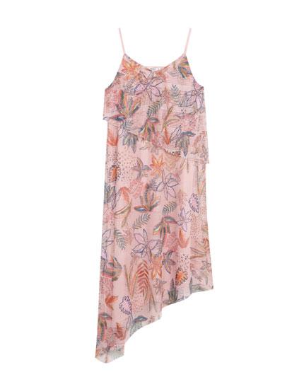 Vestido asimétrico print flores