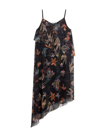 Asymmetric floral print dress