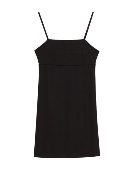 Mini dress with straight-cut neckline