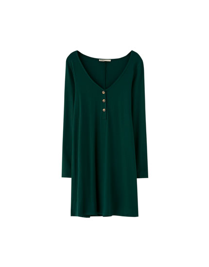 Long sleeve crepe dress with buttons