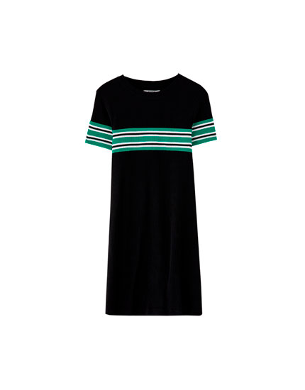 Basic striped panel dress