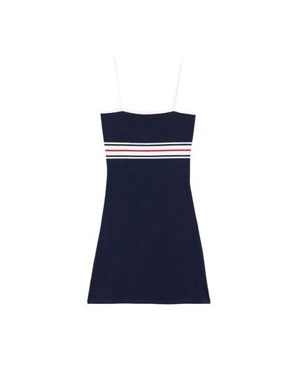 A-line dress with stripe print