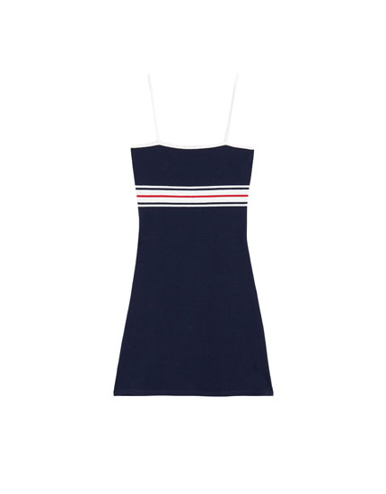 A-line dress with stripe print