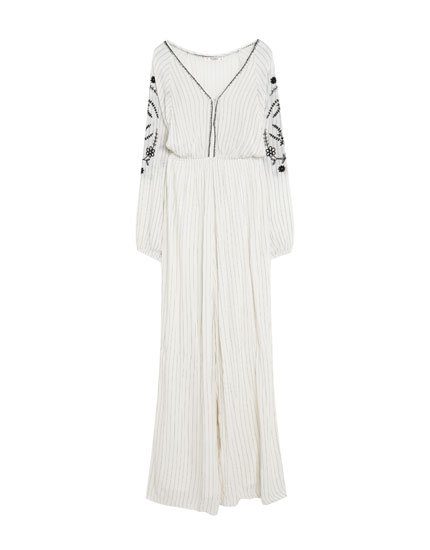 Long jumpsuit with embroidered sleeves