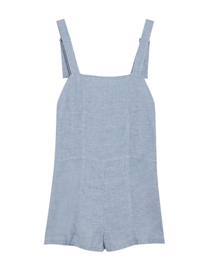 Short chambray jumpsuit