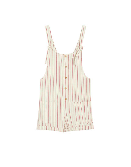 Striped short dungarees with front buttons