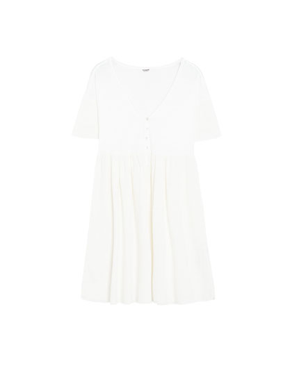 Batwing sleeve dress with buttons