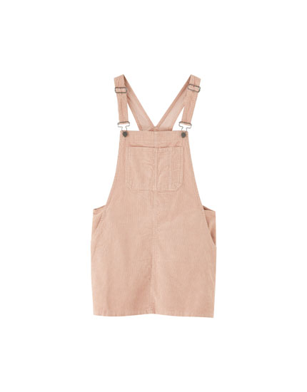 Pink corduroy pinafore dress