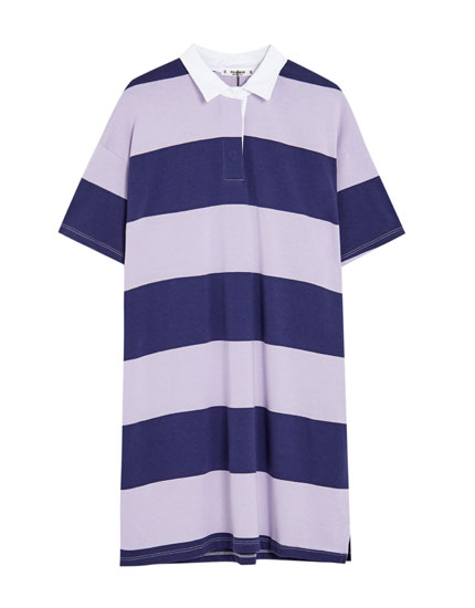 Striped polo collar dress